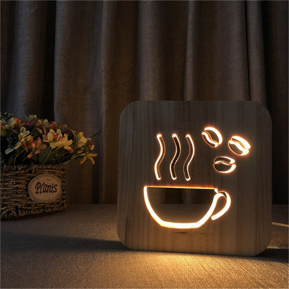 Coffee Cup Shape Wood Lamp 3D LED Hollowed-out Night Light Warm White Table USB Supply as Shop Office Home Decor Friend's Gift