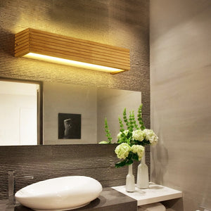 Modern Led Indoor Wall Lamps Wooden Mirror Bathroom Light Vanity Lights Fixture Make Up Luminaire Japan Design Warm Home Decor