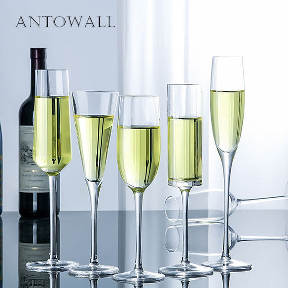 ANTOWALL Transparent Champagne Glass Cup  Lead-free Crystal Goblet Party Wedding Red Wine Glass Whiskey Drinking Bar Transparent