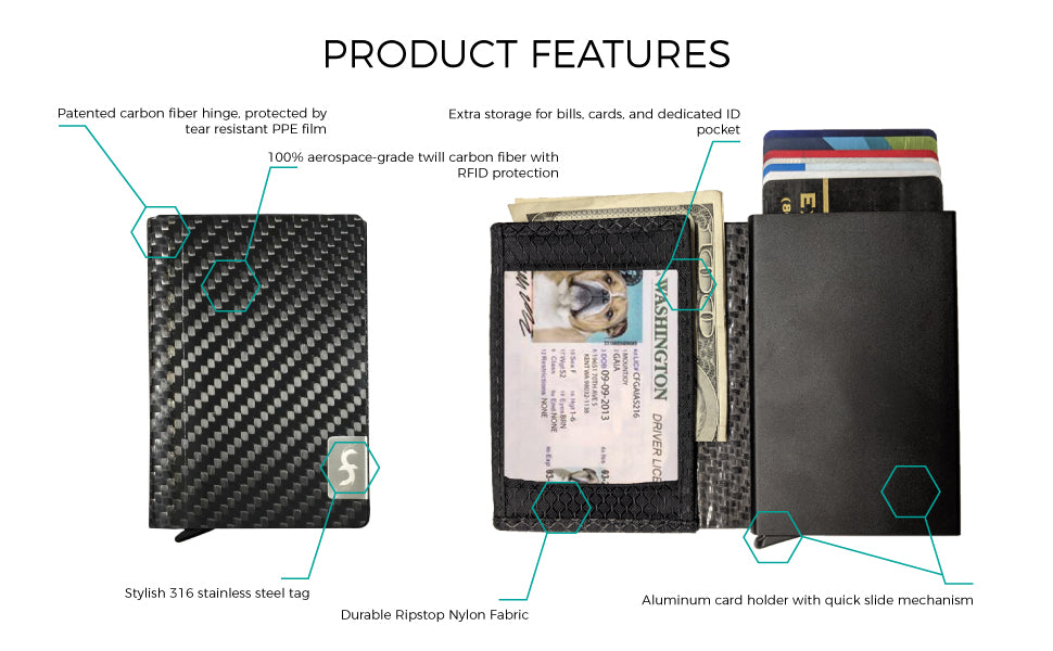 Common Fibers SLD carbon fiber card slider wallet product features