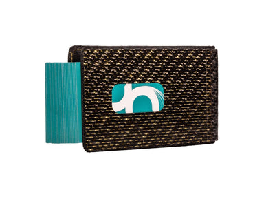 Mens Gold Carbon Fiber Business Card Holder