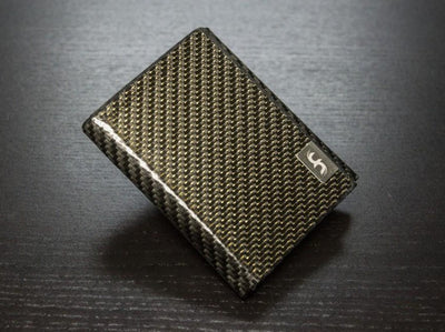 Gold Carbon Fiber Trifold Wallet