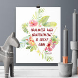 Godliness with Contentment -  1 Timothy - Printable Wall Art