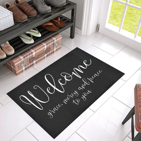Welcome Doormat - Grace Mercy and Peace 30 by 18 inches