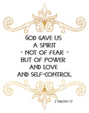 God Gave Us a Spirit - 2 Timothy - Printable Wall Art