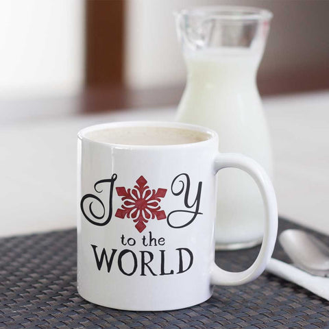 Christmas Coffee Mug - Joy to the World with Red Snowflake - Ceramic Cup 11oz or 15oz - Holiday Hostess Gift or Present for Mom