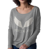 Christmas Long Sleeve T Shirt for Women - Peace and Joy - Grey or Black, Sizes Small to XL