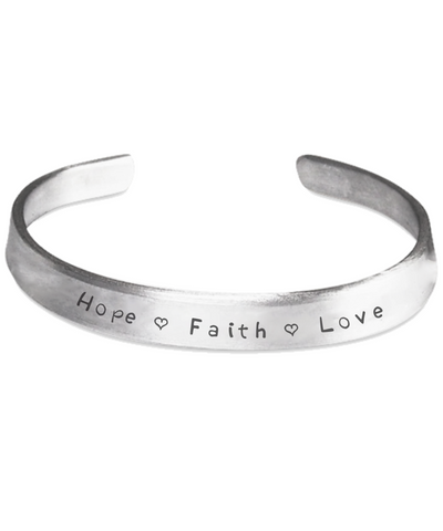 Hope Faith Love - Handstamped Cuff Bracelets