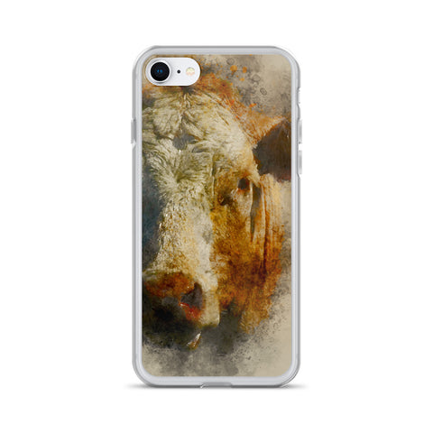 iPhone Case with the Face of a Beautiful Cow - Watercolor