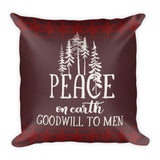 Christmas Throw Pillow and Case - Peace on Earth - Rustic Colors - White Brown and Red - 18x18 Inches Square