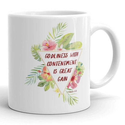 Godliness with Contentment -  1 Timothy - White Mug 11 oz or 15 oz