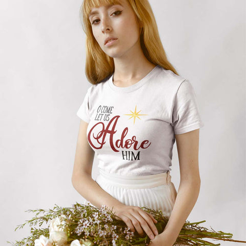 Christmas Top for Women - O Come let us Adore Him with Star - Bella and Canvas - In White Cream or Ash, Sizes Small to 4XL - Gift for Wife