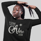 Christmas Long Sleeve T-Shirt for Women - O Come Let Us Adore Him - Bella and Canvas - Grey or Black, Sizes Small to XL