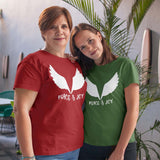 Christmas Top for Women - Peace and Joy with Angel Wings - Gilden Cotton - In Green or Red, Sizes Small to 3XL