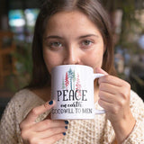 Coffee Cup for Christmas - Peace on Earth with Trees - Ceramic Cup 11oz or 15oz - Xmas Hostess Gift or Stocking Stuffer
