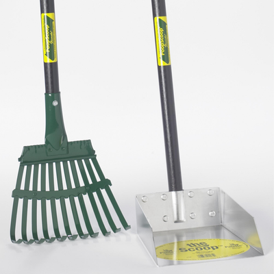 Small Dog Scoop and Rake Set with 3' Wood Handle