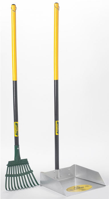 Large Dog Scoop and Rake Set with 3' Wood Handle