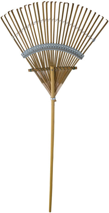 "24"" Deluxe Reinforced Bamboo Rake with 48"" Hardwood Handle"
