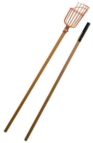 Fruit Picker with 8-Foot 2-Piece Wood Handle