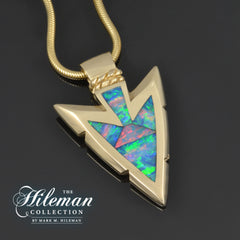 Custom Australian Opal inlay pendant by The Hileman Collection
