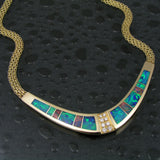 Australian opal and diamond necklace in 14k gold by The Hileman Collection