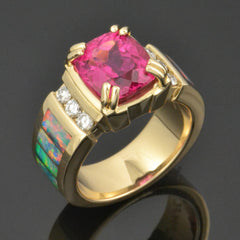 Custom Australian opal ring with rubellite tourmaline and diamonds set in 14k gold.