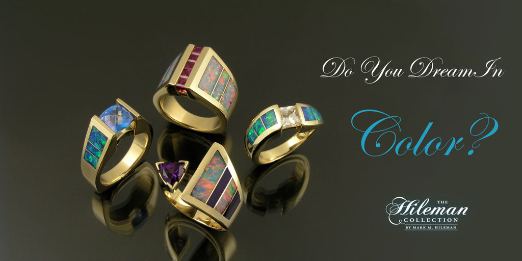 Australian opal rings by The Hileman Collection feature opal accented by sapphires, diamonds, and other gemstones.
