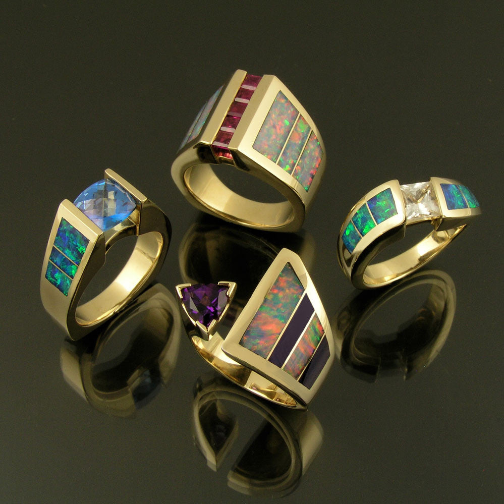 Australian opal rings by The Hileman Collection
