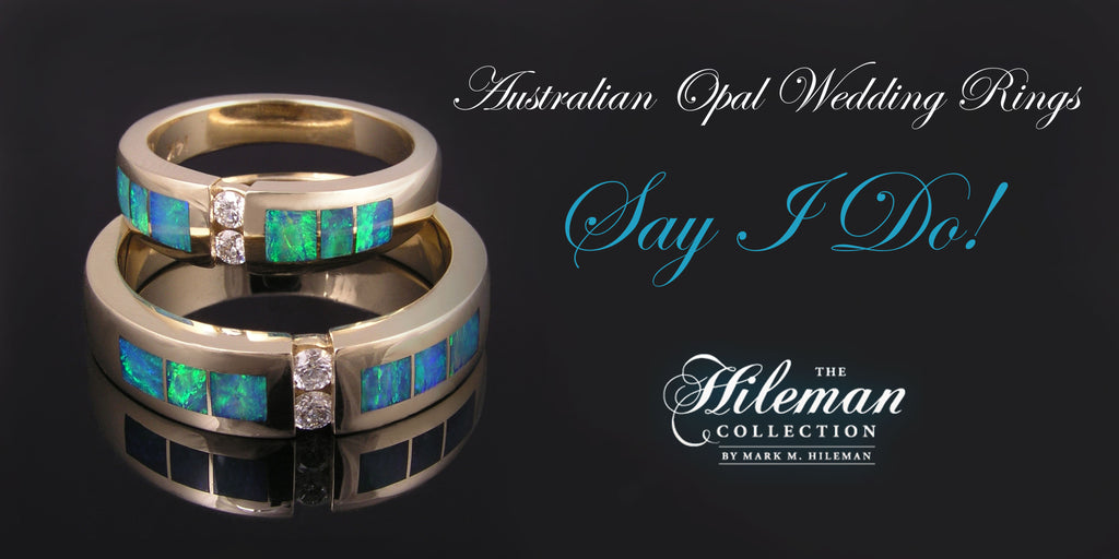 Australian opal wedding rings and wedding ring sets by The Hileman Collection.
