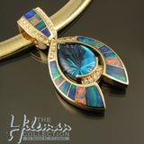 Australian opal pendant with topaz and diamonds by The Hileman Collection.