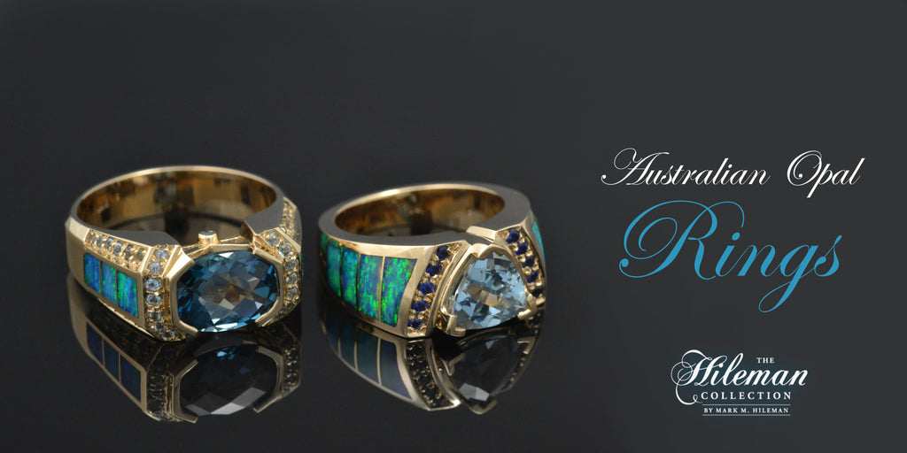 Australian opal rings by The Hileman Collection.