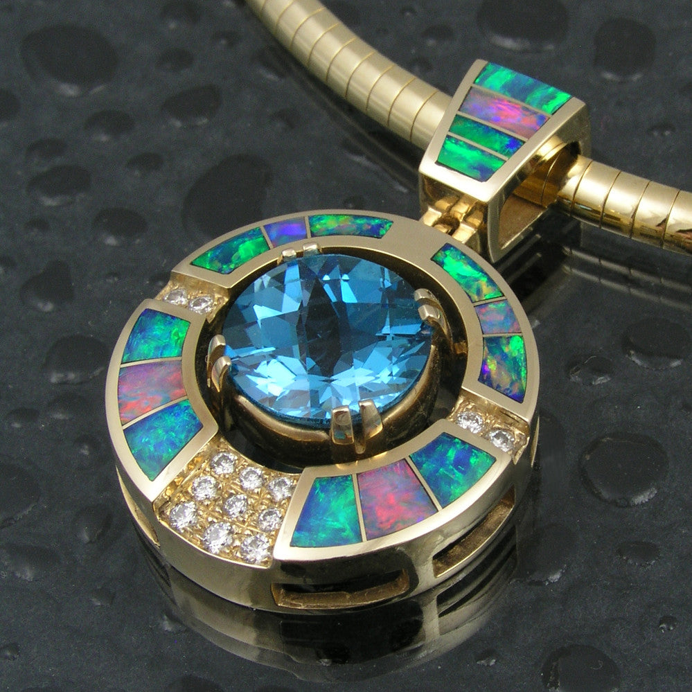 Australian opal pendant with diamonds and topaz by Hileman