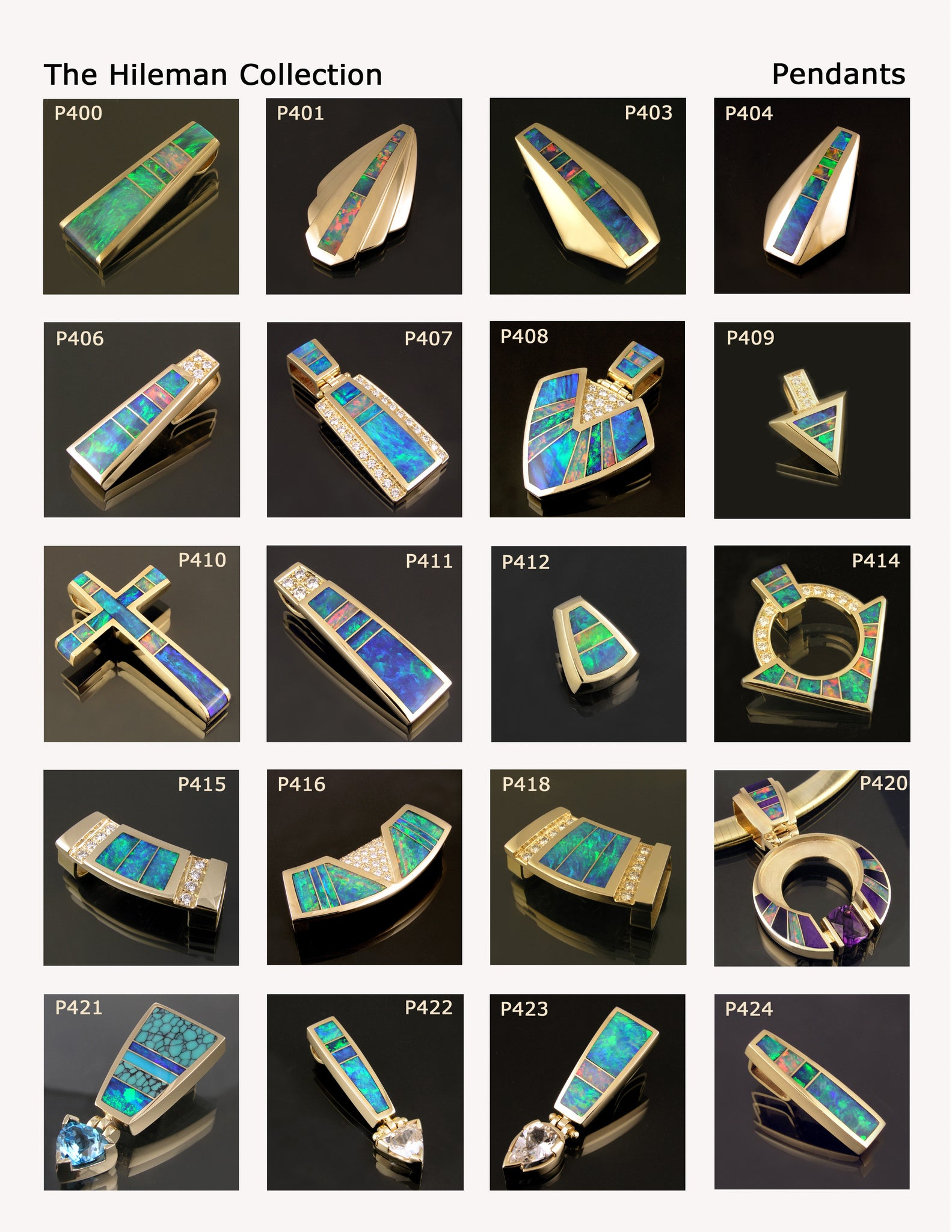 Opal pendants by The Hileman Collection.  Australian opal inlaid pendants in 14k gold.