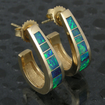Australian Opal Earrings in Yellow Gold by Hileman