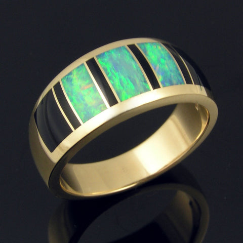 Australian opal wedding ring with black onyx accents in gold