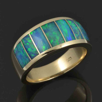 Australian opal ring with outstanding blue-green opal inlaid in 14k gold by Hileman.