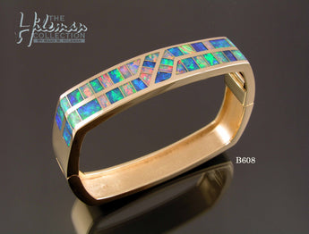 Hinged Australian Opal Bracelet in 14 Karat Gold by Hileman