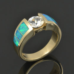 Australian opal engagement ring with white sapphire by Hileman