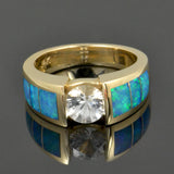 White sapphire engagement ring inlaid with genuine Australian opal