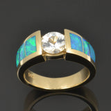 Opal wedding ring with white sapphire in 14k gold