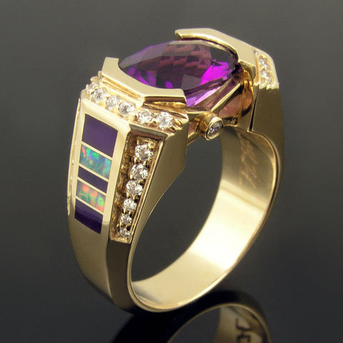 Opal ring with amethyst, sugilite and diamonds set in 14k gold.  The amethyst looks great with the inlaid sugilite in this ring!