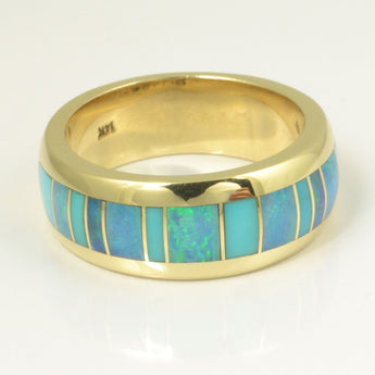 Turquoise and opal inlay ring by Hileman