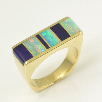 Sugilite and opal ring in 14k gold