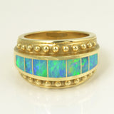 Opal inlay ring in gold by Hileman