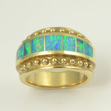 Australian opal inlay ring in 14k gold