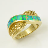 Opal inlay ring in 14k yellow gold