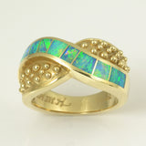 Australian opal inlay ring in 14k gold.