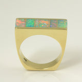 Australian opal inlay ring in 14k yellow gold by Hileman