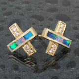 Australian Opal Earrings with diamonds in 14k gold by Hileman