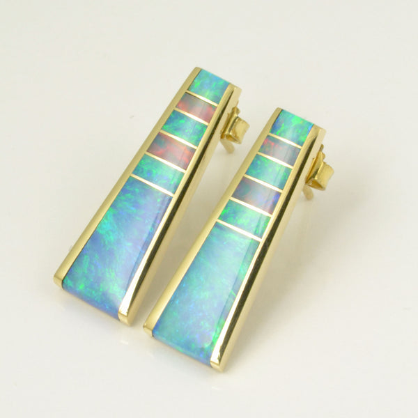 Tapered Australian Opal Inlay Earrings in 14k Yellow Gold